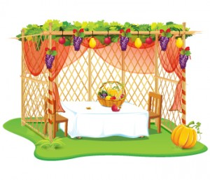 Sukkot jewish jewels sukkah with grapes and fruit table m4hsunfo